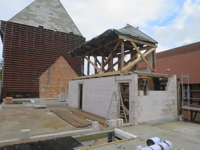 Einbindung des Fachwerks aus dem Altbau mit dem Neubau